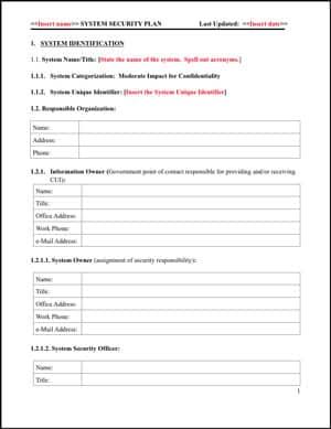 NIST 800-171 SSP Template